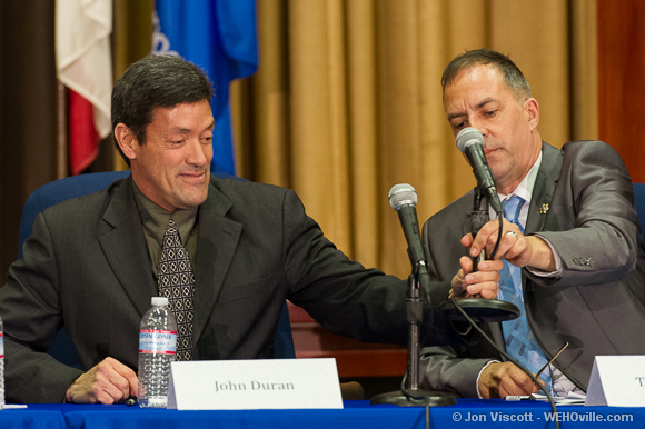 John Duran and Tom DeMille at the council debate