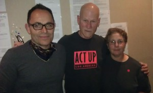 From left to right, xxx, ACT UP member JT Anderson and Helene Schpack (Photo by James Mills).