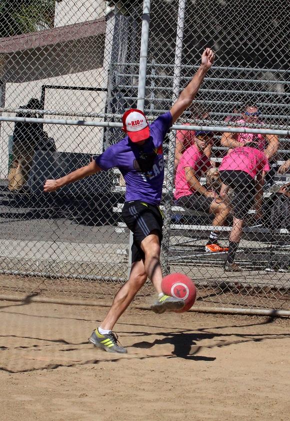 Blake shows great form and a big kick!