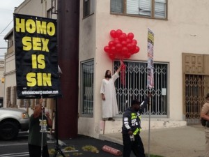 """""""WeHo Jesus"""" Kevin Lee Light at the 2013 AIDS Walk Los Angeles. (Photo by Brody Brown)"""