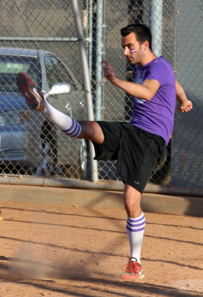 Tyler Sweeny exhibits a high kick. Either he was a soccer player or a darn good dancer.
