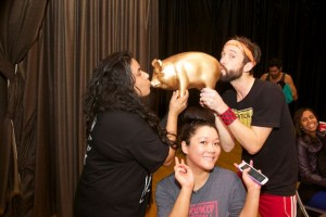 "Dickelodeon kissing the coveted ""bottom pig."" (Photo by Matt Baume)"
