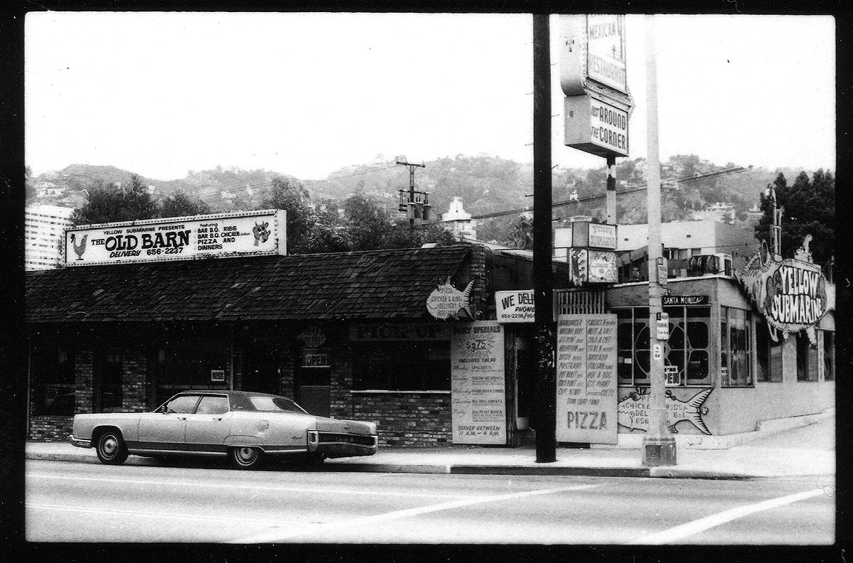 Yellow Submarine and the Old Barn at the northwest corner of Santa Monica Boulevard and Harper, 1982