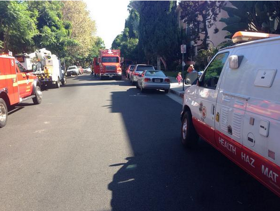 Kings Road blocked while emergency teams respond to air conditioner explosion. (Photo courtesy of Anthony Vulin)