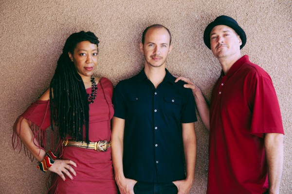 WeHo's National Poetry Month participants. From left to right, Teka Lark Fleming, Steven Reigns, Mike Sonksen