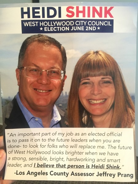 A recent Heidi Shink mailer for the June 2 election, with a quote from Jeffrey Prang in March.