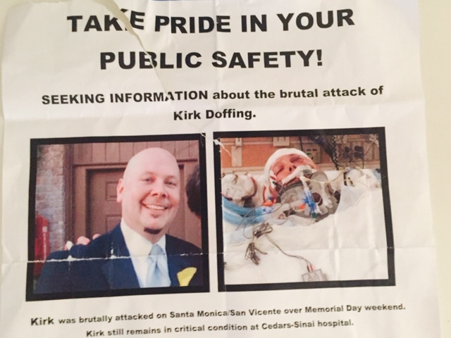Part of a poster posted by friends of Kirk Doffing on Santa Monica Boulevard during Gay Pride weekend