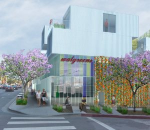Illustration of the proposed Walgreen's drugstore at 8120 Santa Monica Blvd. (Architects Lorcan O'Herlihy)