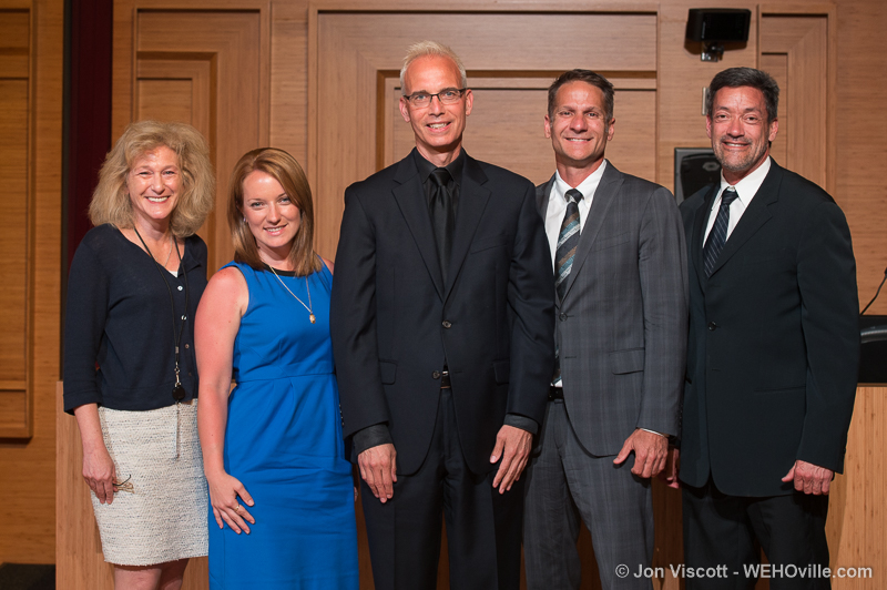 West Hollywood City Council members (left to right) Mayor Lauren Meister, council members Lindsey Horvath, John Heilman, John D'Amico and John Duran. (Photo by Jon Viscott)