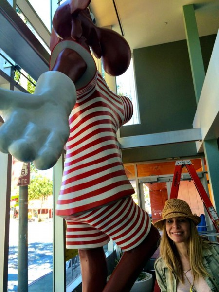 Alison Martino with Bullwinkle in West Hollywood's City Hall lobby