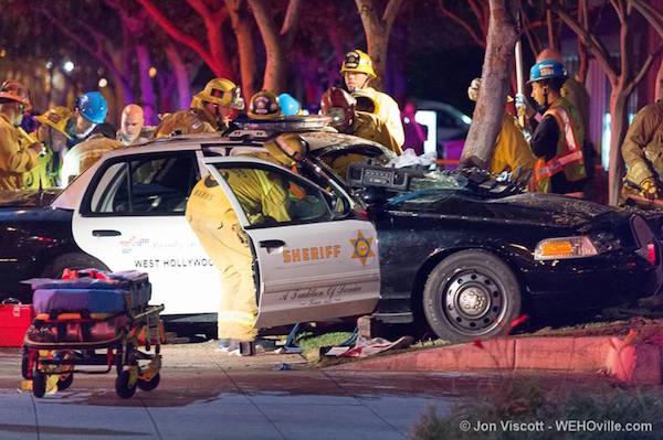 Sheriff's Department patrol car crashed in front of MTA depot on Santa Monica Boulevard. (Photo by Jon Viscott)
