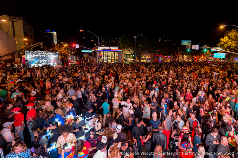 The crowd gathers on Santa Monica Boulevard Saturday night for WeHo's Halloween Carnaval. (Photo by Jon Viscott, courtesy of the City of West Hollywood)