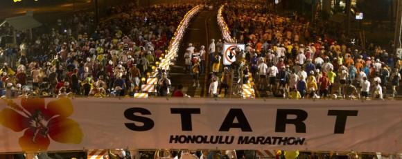 The early morning start of the Honolulu Marathon