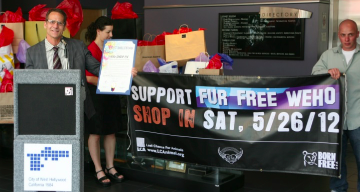 "Council member John D'Amico speaks at the city's Fur Free Weho Shop In press conference May 24, 2013. In a 1990 resolution, West Hollywood declared itself to be a ""cruelty-free zone"" for animals. A ban on fur was adopted in in 2011, took effect in 2013, survived a court challenge in 2014 and was amended in 2015. (City of West Hollywood photo by Brett White)"