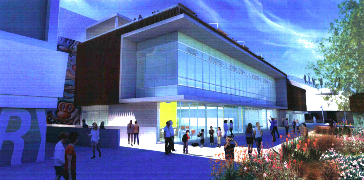 The east elevation of the proposed aquatics and recreation center at West Hollywood Park