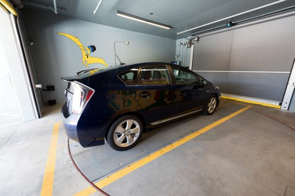 A car in the automated parking garage elevator