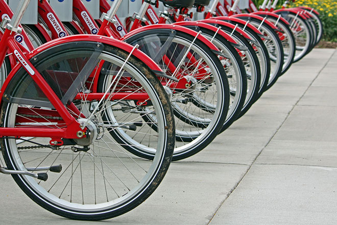 Bikes at a sharing station. WeHo's launches this summer