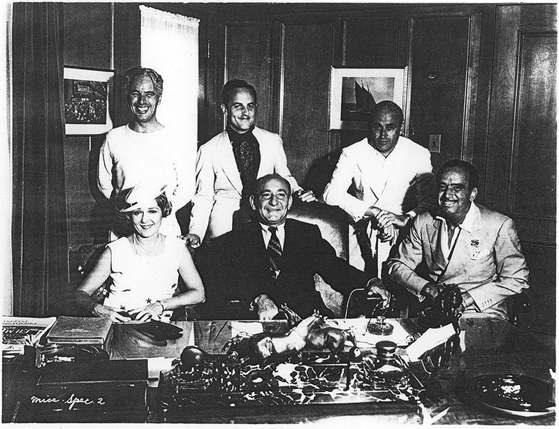 Clockwise from rear – Charles Chaplin, Darryl Zanuck, Samuel Goldwyn, Douglas Fairbanks, Joseph Schenck and Mary Pickford