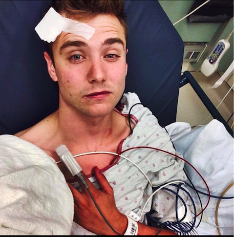 A photo of himself posted on Facebook by Calum McSwiggan who was taken to the hospital after trying to harm himself.
