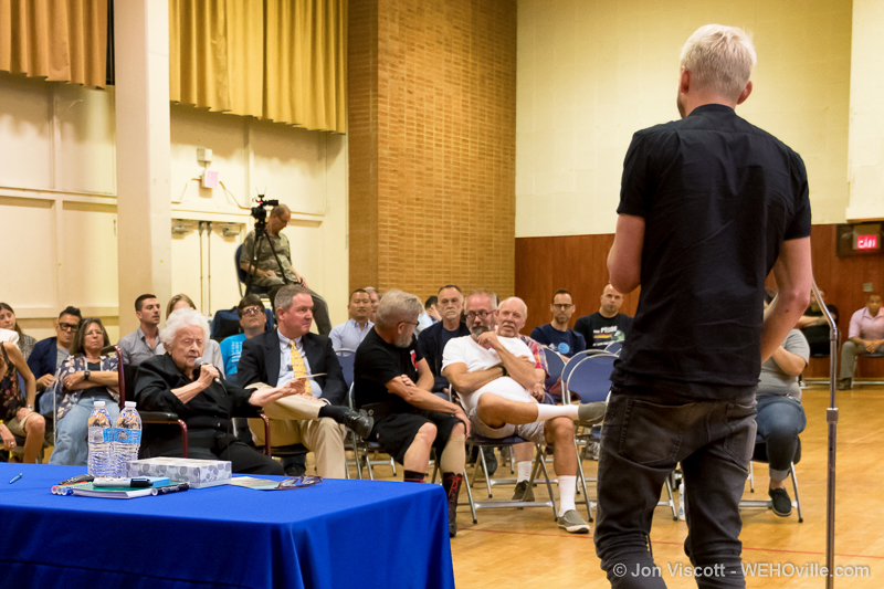 CSW President Chris Classen (foreground) questioned by Ivy Bottini. (Photo by Jon Viscott)