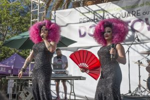 The Boulet Brothers on stage at DTLA Proud (Photo by Derek Wanker)