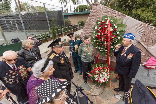 WW II veterans on Victory in Europe Day 2014 at the Russian Veterans Memorial at Plummer Park.