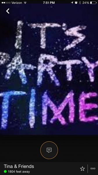 """Screen shot of a local Grindr profile promoting """"partying."""""""