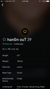 Screenshot of a local Grindr profile with text indicating meth use.