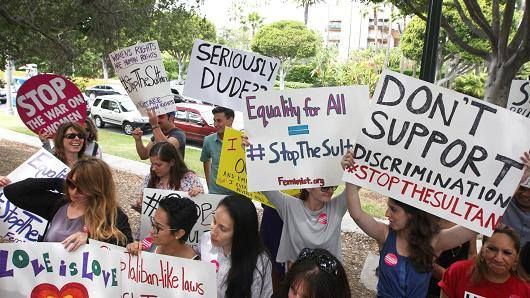 A protest last year against the Beverly Hills Hotel's owner's Sharia law in Brunei.