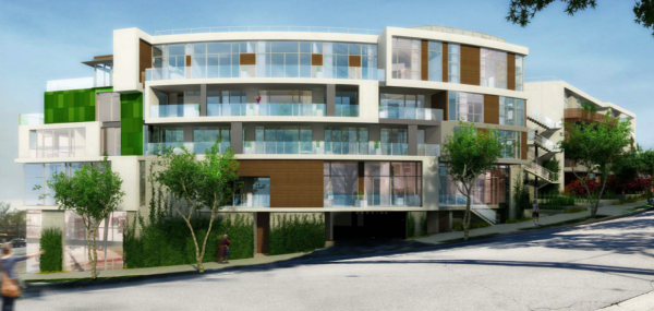 East facing facade on West Knoll of 8555 Santa Monica Blvd. building. (DHF Architects)