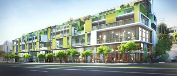 The Santa Monica Boulevard facade of 8555 Santa Monica Blvd. (DFH Architects)