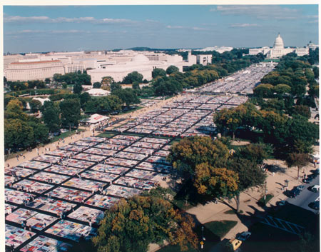 The AIDS Quilt on display on the national mall in front of the U.S. Capitol.